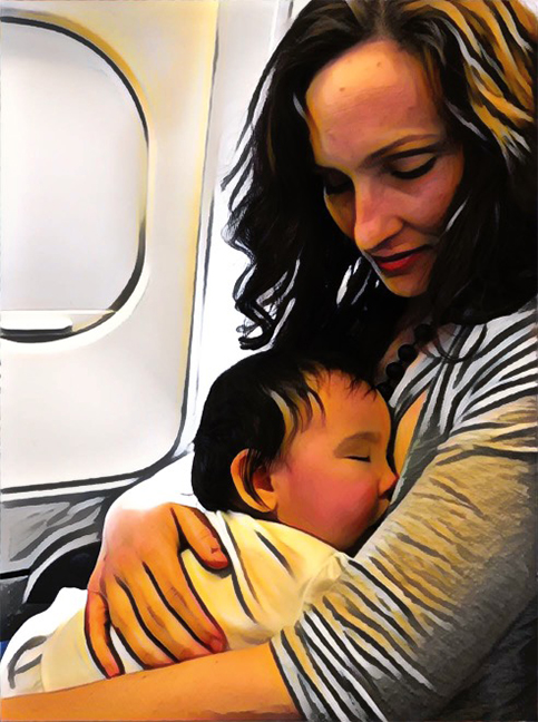 """Photo by: Erik De Leon with effects by Natalie Doonan  Title: Still image from """"Voir le jour: breastfeeding and the commons""""  © 2018"""